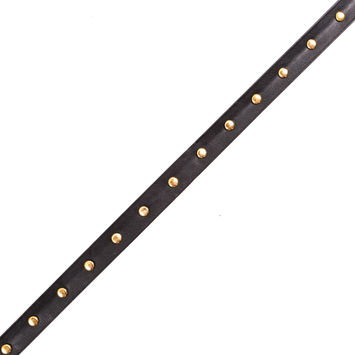 Black Faux Leather Trim with Gold Studs - 0.75
