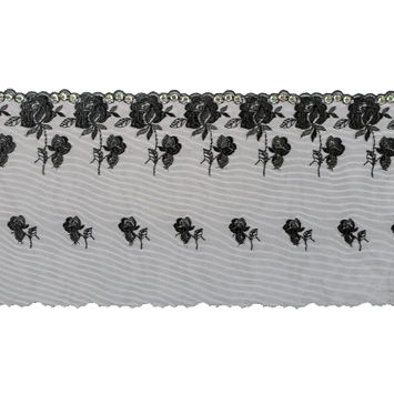 Black Embroidery on Mesh with Sequins - 6