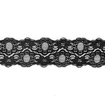 Black Stretch Lace Trim - 2.25