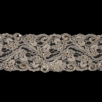 Beige Beaded, Sequined & Corded Lace Trim - 4.5