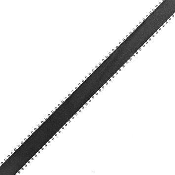 Black Feather Edged Satin Ribbon - 5/8