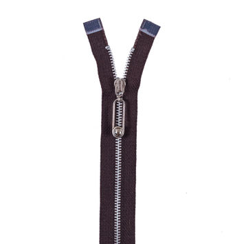 Brown Metal Separating Zipper with Silver Teeth and Pull -16