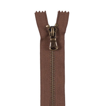 Brown Metal Zipper with Antique Gold Pull and Teeth - 4.5