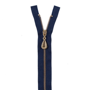 Navy Metal Separating Zipper with Gold Pull and Teeth - 13
