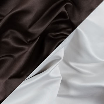 Brown and White Two-Tone Double Duchesse Satin