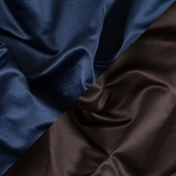 Brown and Navy Two-Tone Double Duchesse Satin