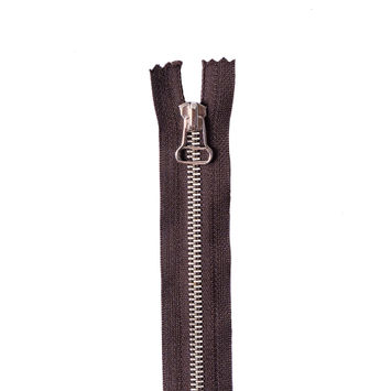 Dark Brown Metal Zipper with Silver Pull and Teeth - 6