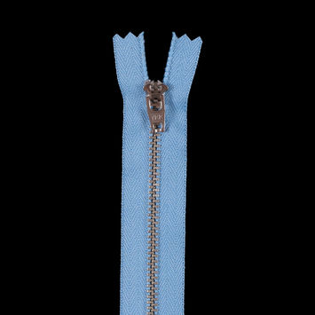 Blue Metal Zipper with Silver Pull and Teeth - 4.5