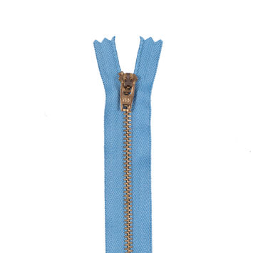 Blue Metal Zipper with Gold Pull and Teeth - 4.5