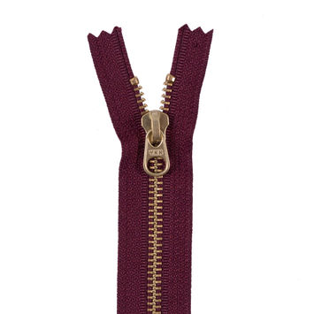 Dark Tuscan Red Metal Zipper with a Gold Pull and Teeth - 4.5