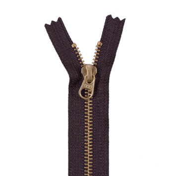 Dark Brown Metal Zipper with a Gold Pull and Teeth - 4.5