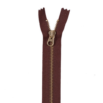 Brown Metal Zipper with Gold Pull and Teeth - 6
