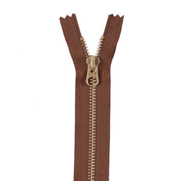 Toffee Brown Metal Zipper with Gold Pull and Teeth - 6