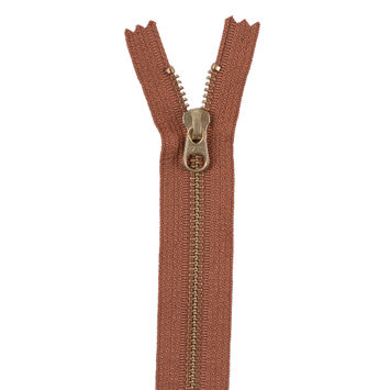 Bronze Metal Zipper with Gold Pull and Teeth - 6