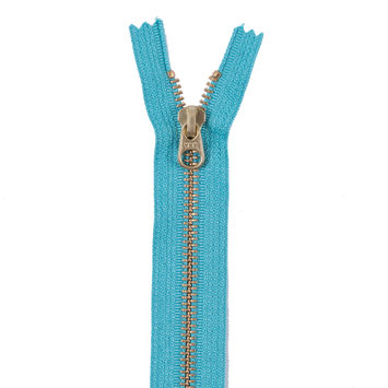 Turquoise Metal Zipper with Gold Pull and Teeth - 6