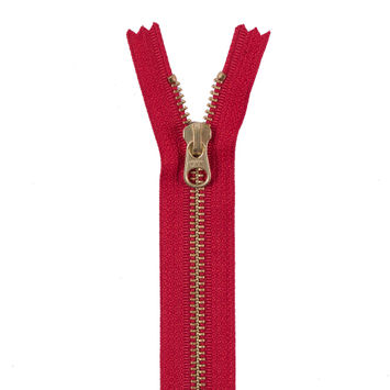 Red Metal Zipper with Gold Pull and Teeth - 6
