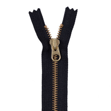 Black Metal Zipper with a Gold Pull and Teeth - 4.5