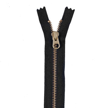 Navy Metal Zipper with Gold Pull and Teeth - 6