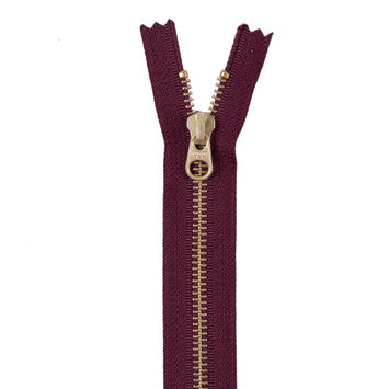 Dark Tuscan Red Metal Zipper with Gold Pull and Teeth - 6