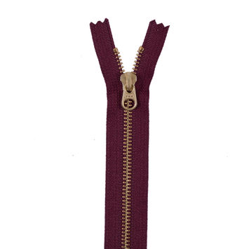 Dark Tuscan Red Metal Zipper with Gold Pull and Teeth - 8