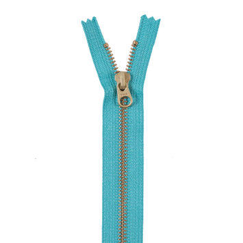 Jade Blue Metal Zipper with Gold Pull and Teeth - 8