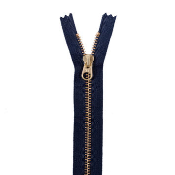 Navy Metal Zipper with Gold Pull and Teeth - 8