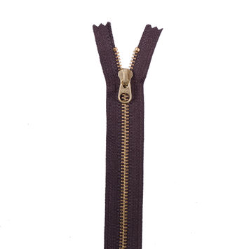 Brown Metal Zipper with Gold Pull and Teeth - 8