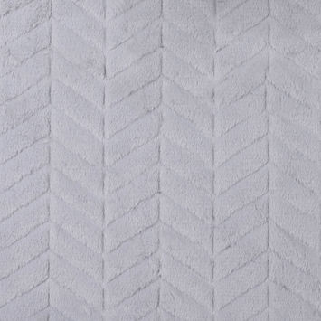 Silver Herringbone Grooved Faux Fur
