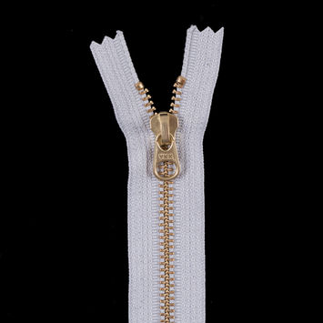Light Gray Metal Zipper with a Gold Pull and Teeth - 4.5