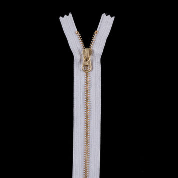 Light Gray Metal Zipper with Gold Pull and Teeth - 8