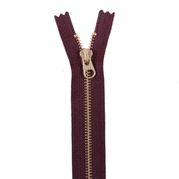 Bole Brown Metal Zipper with Gold Pull and Teeth - 8