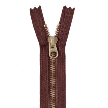 Brown Metal Zipper with a Gold Pull and Teeth - 4.5