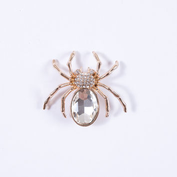 Spider Rhinestone Brooch - 2x2