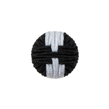 Black & White Fabric Covered Button with Fancy Face - 30L/19mm