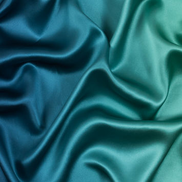 Green and Blue Ombre Silk Charmeuse
