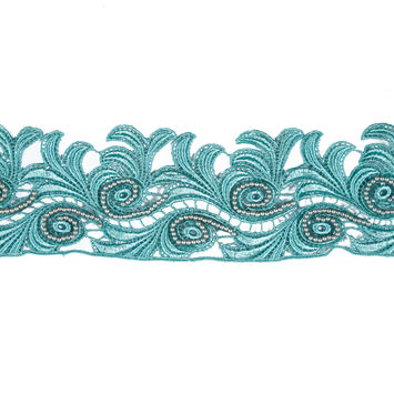 Blue Turquoise Beaded Venise Lace Trim - 3.25