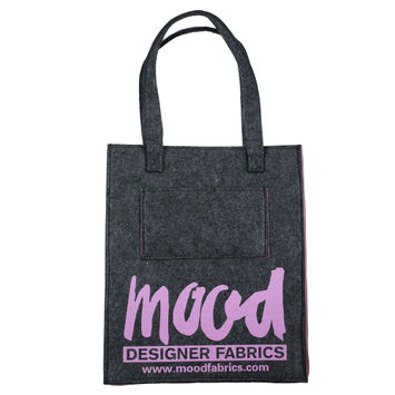 Small Charcoal Felt Mood Bag with Pink Lavender Logo
