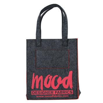 Small Charcoal Felt Mood Bag with Cayenne Logo