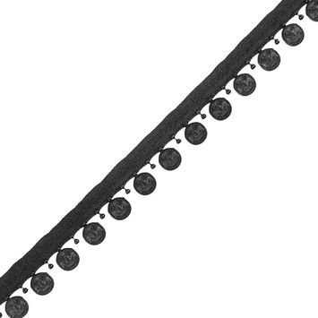 Black Beaded Coin Trim with Lip - 1