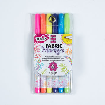Tulip Fine Tip Neon Color Fabric Markers - 6-Pack