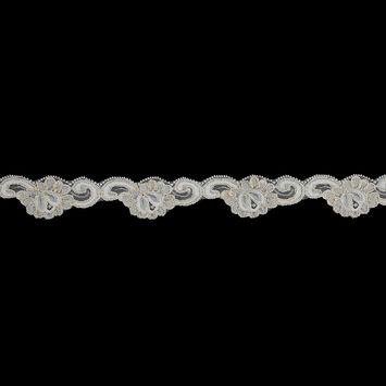 Beige and Metallic Gold Scallop Edge Lace Trim - 1.5