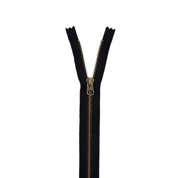 Black Metal Closed Bottom Zipper with Gold Teeth - 9