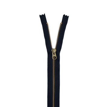 Navy Metal Closed Bottom Zipper with Gold Teeth - 9