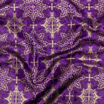 Purple and Metallic Gold Vestment Jacquard