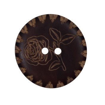 Natural Floral Etched Wood Button 44L/28mm-319208-10