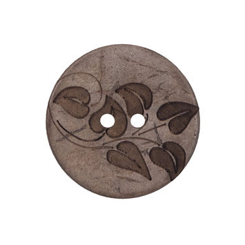 Italian Brown Leafy Etched Coconut Button 40L/25mm-319238-10
