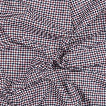 Red, White and Blue Tattersall Shepherd's Check Cotton and Tencel Flannel