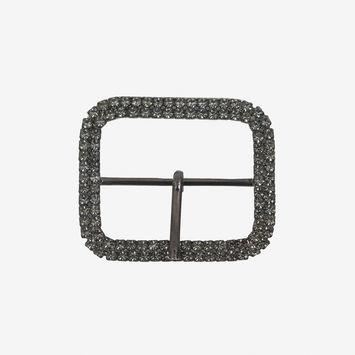 "Gunmetal and Black Diamond Swarovski Buckle 1.875""-319862-10"