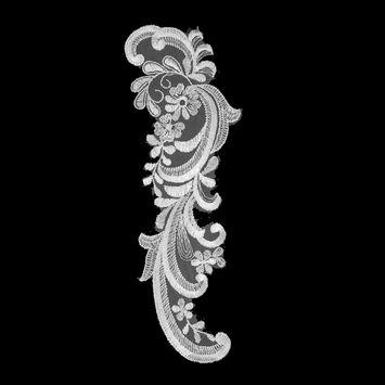 "White Embroidered Left-Side Organza Applique 10.5"" x 3.5""-320044-10"