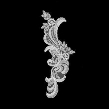 "White Embroidered Left-Side Organza Applique 10.5"" x 3""-320046-10"